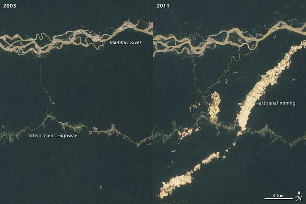 Satellitenbilder zeigen das erschreckende Ausmaß an Abholzung in Peru (Foto: Nasa)